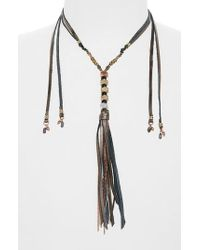 Nakamol - Gray Leather & Metal Tassel Lariat Necklace - Lyst