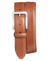 Bosca - Orange Double Stitch Leather Belt for Men - Lyst