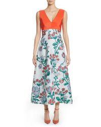 Lela Rose - Blue Tie Back Midi Dress - Lyst