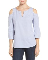 NYDJ | Blue Agnes Print Cold Shoulder Cotton Top | Lyst