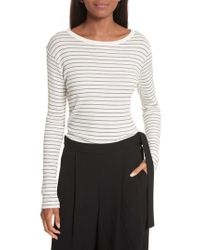 Vince - Multicolor Double Pinstripe Shirttail Tee - Lyst