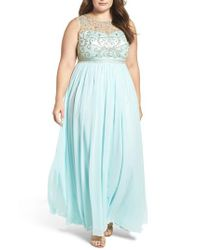 Decode 1.8 - Blue Beaded Illusion A-line Gown - Lyst