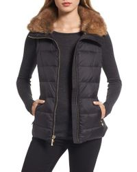 Kate Spade | Black Quilted Puffer Down Vest With Faux Fur Trim | Lyst