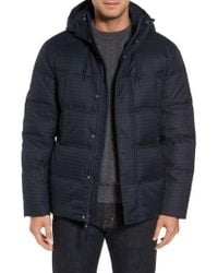 Marc New York - Blue Houndstooth Quilted Down Jacket for Men - Lyst