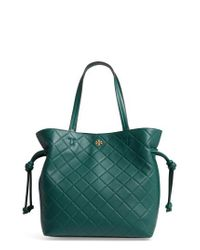 Tory Burch | Green Georgia Slouchy Quilted Leather Tote | Lyst