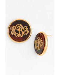 Moon & Lola - Brown 'vineyard' Personalized Monogram Stud Earrings - Lyst