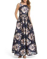 Eliza J - Blue Embellished Floral Ballgown - Lyst