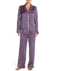 Olivia Von Halle Blue 'lila Prudence' Stripe Silk Pajamas