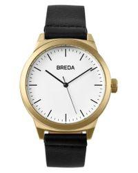 Breda - Metallic Rand Round Leather Strap Watch - Lyst