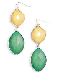 Adia Kibur - Green Stone Drop Earrings - Lyst