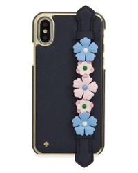 Kate Spade - Blue Floral Hand Strap Stand Iphone X Case - - Lyst