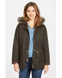 Barbour - Gray 'Kelsall' Faux Fur & Faux Shearling Trim Waxed Cotton Parka - Lyst