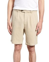 NIFTY GENIUS - Natural Thomas Regular Fit Pleated Shorts for Men - Lyst