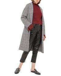 TOPSHOP | Black Checkered Pow Jersey Coat | Lyst