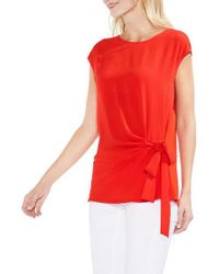 Vince Camuto - Red Tie Front Blouse - Lyst