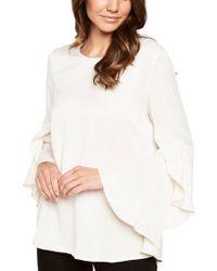 Bardot - White Bell Sleeve Top - Lyst