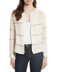 Joie | Natural Jacquine Embellished Open Front Cardigan | Lyst