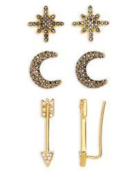 BaubleBar - Metallic 3-pack Crystal Earrings - Lyst