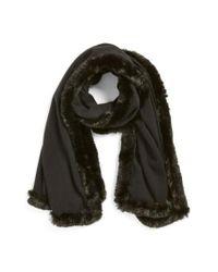 Badgley Mischka - Black Faux Fur Trim Wrap - Lyst