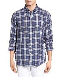 Peter Millar - Blue Leeward Plaid Linen Sport Shirt for Men - Lyst