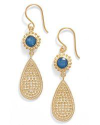 Anna Beck - Blue Quartz Double Drop Earrings - Lyst