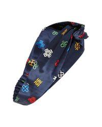 Tory Burch - Blue Alphabet Print Silk Headband - Lyst