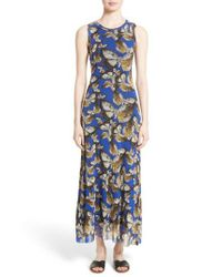 Fuzzi - Blue Tulle Maxi Dress - Lyst