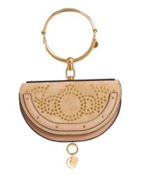 Chloé - Natural Small Nile Studded Suede & Leather Crossbody Bag - Lyst