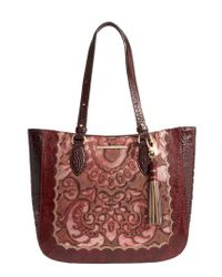 Brahmin - Medium Red Verona - Lena Leather Tote - Lyst