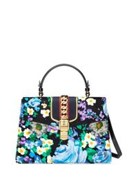 6da5ff3df25 Lyst - Gucci Medium Sylvie Floral Embroidered Top Handle Leather ...