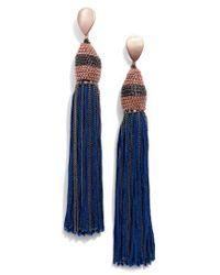 Nakamol - Blue Adar Tassel Earrings With Chain - Lyst