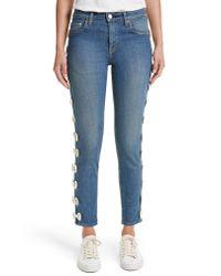 Tu Es Mon Tresor - Blue Grosgrain Bow Embellished Jeans - Lyst