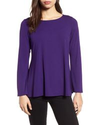 Eileen Fisher - Purple Ballet Neck Jersey Top - Lyst