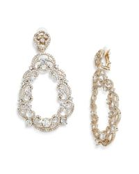 Nina - White Scroll Pave Earrings - Lyst