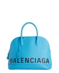 Balenciaga - Blue Medium Logo Leather Satchel With Water Repellent Coat - Lyst