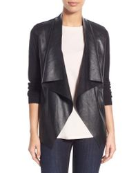 MICHAEL Michael Kors | Black Faux Leather & Knit Cardigan | Lyst
