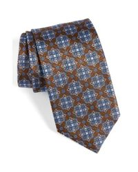 David Donahue - Brown Medallion Silk Tie for Men - Lyst