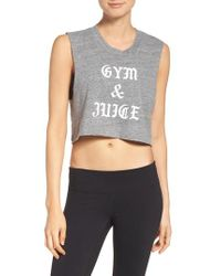 Private Party - Gray Gym & Juice Crop Tank - Lyst