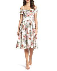 Chetta B | White Off The Shoulder Midi Dress | Lyst