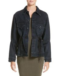 Proenza Schouler - Black Pswl Drawstring Denim Jacket - Lyst
