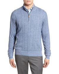 Peter Millar - Blue Crown Fleece Cashmere & Linen Quarter Zip Sweater for Men - Lyst