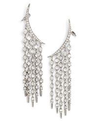 Oscar de la Renta - Metallic Tendril Crystal Earrings - Lyst