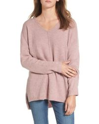 Dreamers By Debut - Purple Exposed Seam Tunic Sweater - Lyst