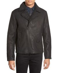 Vince Camuto - Black Leather Moto Jacket With Faux Shearling Lining for Men - Lyst