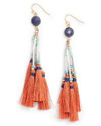 Nakamol - Orange Tassel Drop Earrings - Lyst
