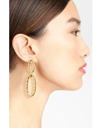 Karine Sultan - Metallic Double Oval Link Earrings - Lyst