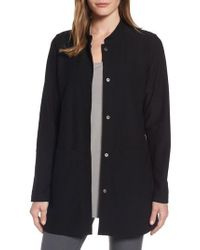 Eileen Fisher | Black Mandarin Collar Knit Jacket | Lyst