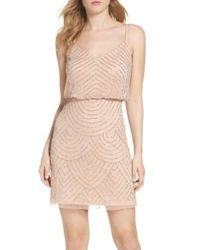 Adrianna Papell Multicolor Sequin Mesh Blouson Dress