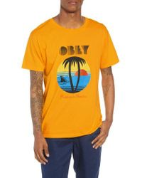 Obey - Orange Problems In Paradise Graphic T-shirt for Men - Lyst