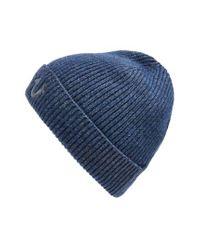 True Religion - Blue Rib Knit Cap for Men - Lyst